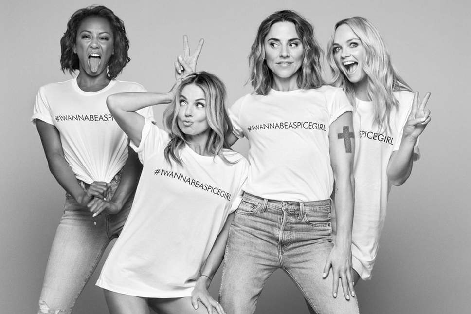 Members of the Spice Girls wearing #IWannaBeASpiceGirl T-shirts. Picture: Comic Relief.