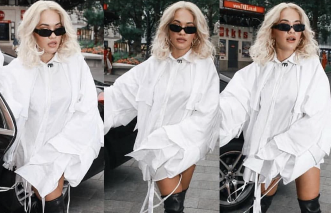 @Rita  ora in London – styled by  @karenclarkson  – The Climbing under Shirt and The Climbing Shirt Jacket. Image courtesy of  Patrick__Mcdowell  Instagram