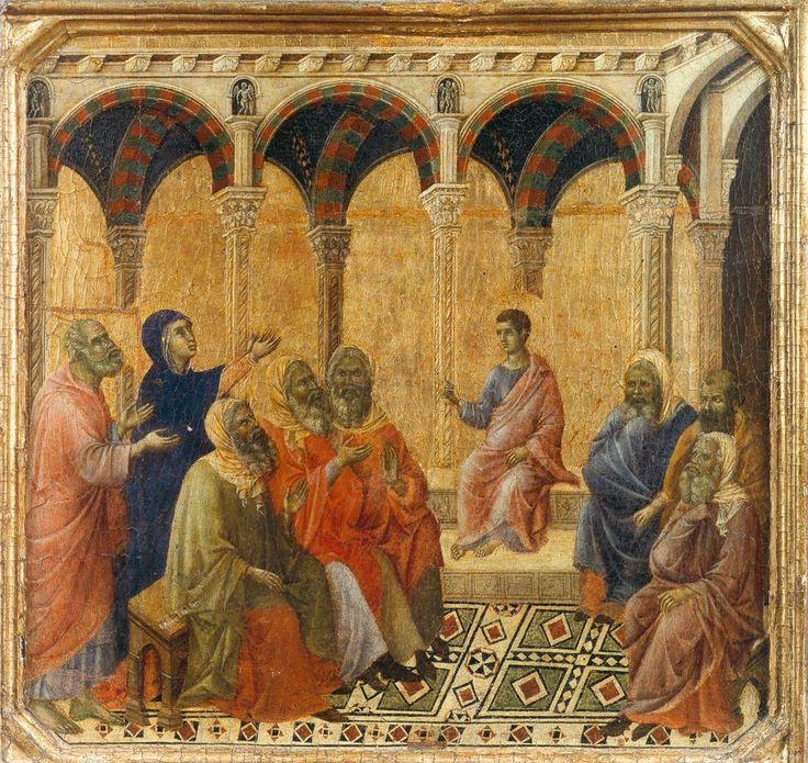 Twelve-year old Jesus teaches in the Temple (Duccio)