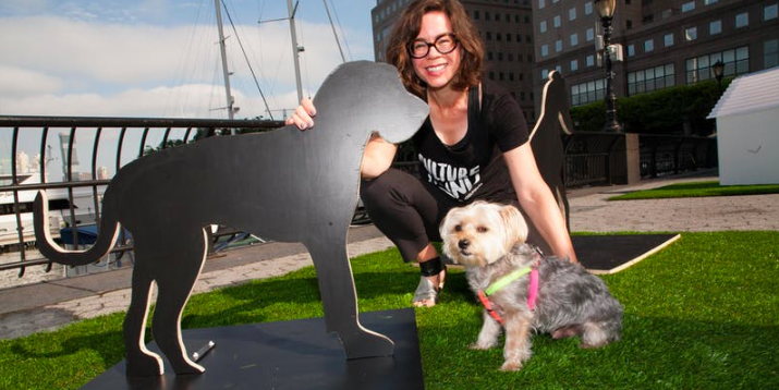 Jessica Dawson and Rocky at dOGUMENTA NYC. Rocky is Jessica's muse and the inspiration behind dOGUMENTA.