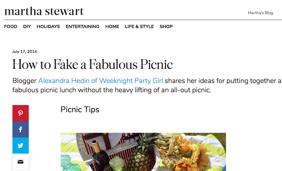 MarthaStewart.com - How to fake a fabulous picnic