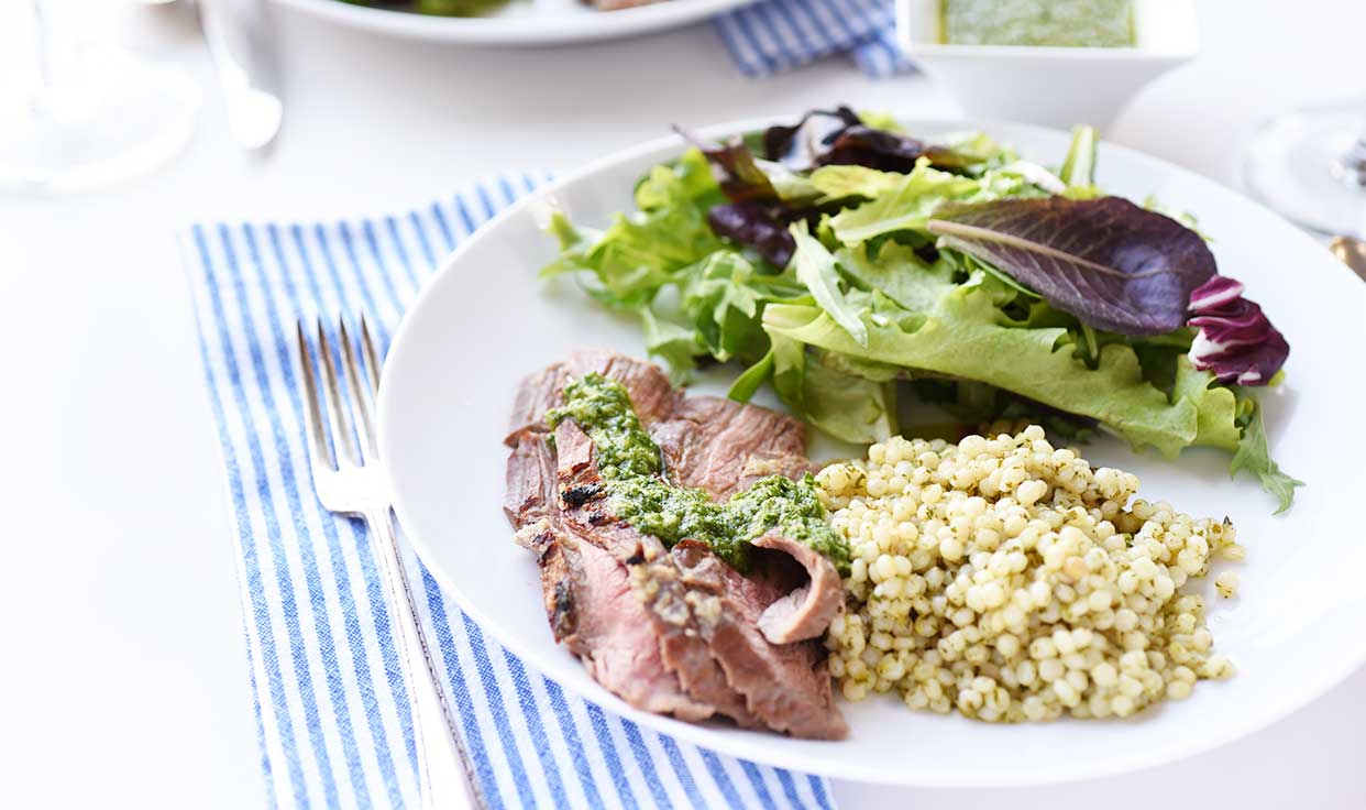 Ali Hedin | Tequila Steak + Chimichurri Couscous