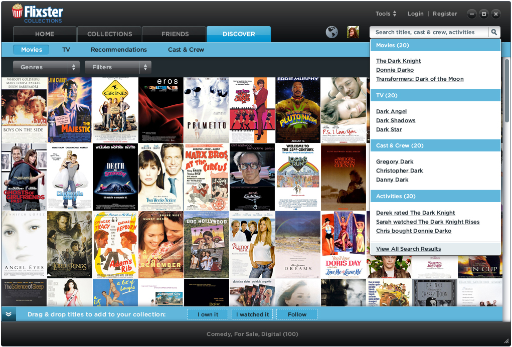 Search for movies to build your collections