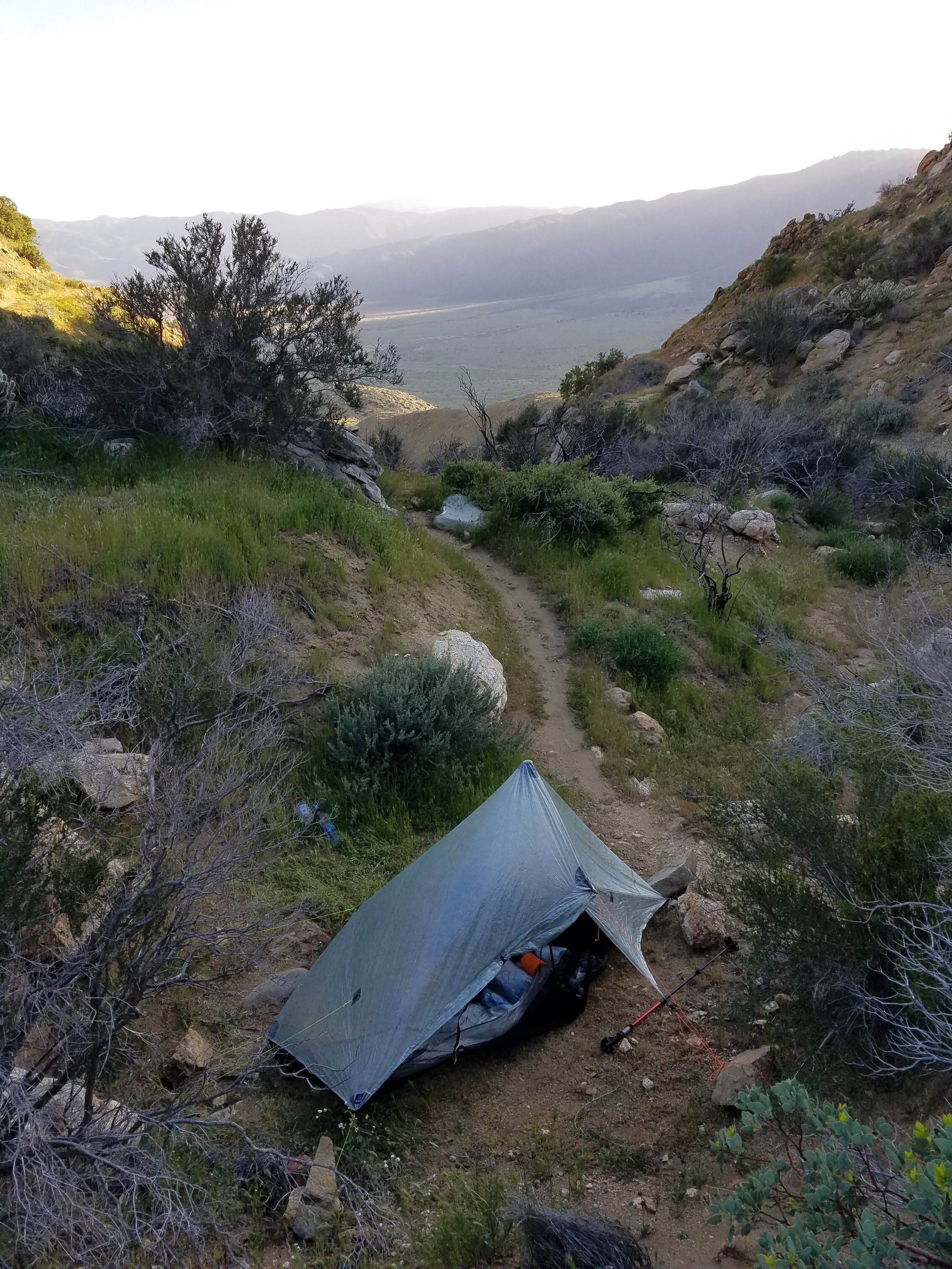 The windy bivy site just off the trail.