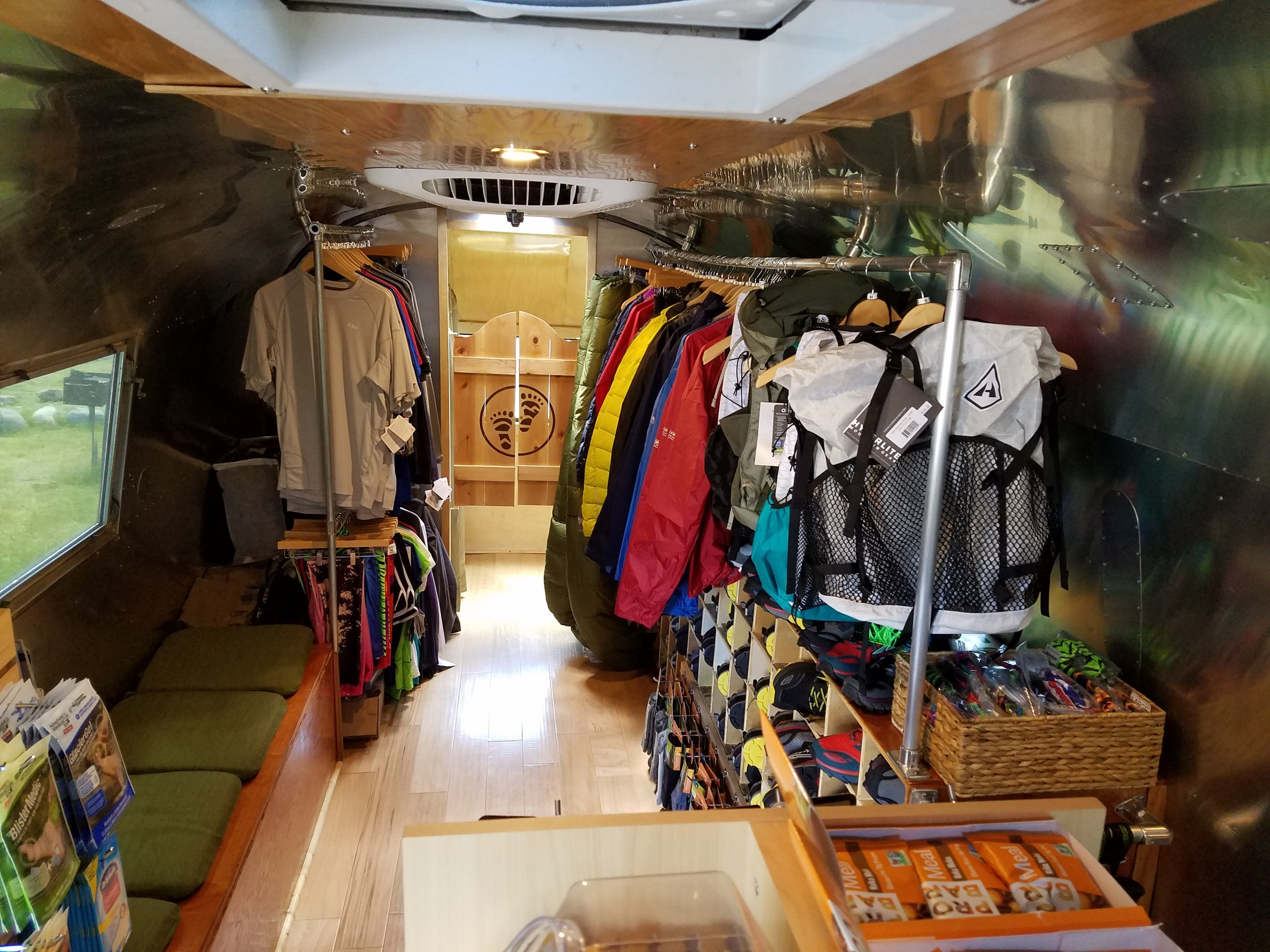 Inside the Airstream gear shop! Super cool setup