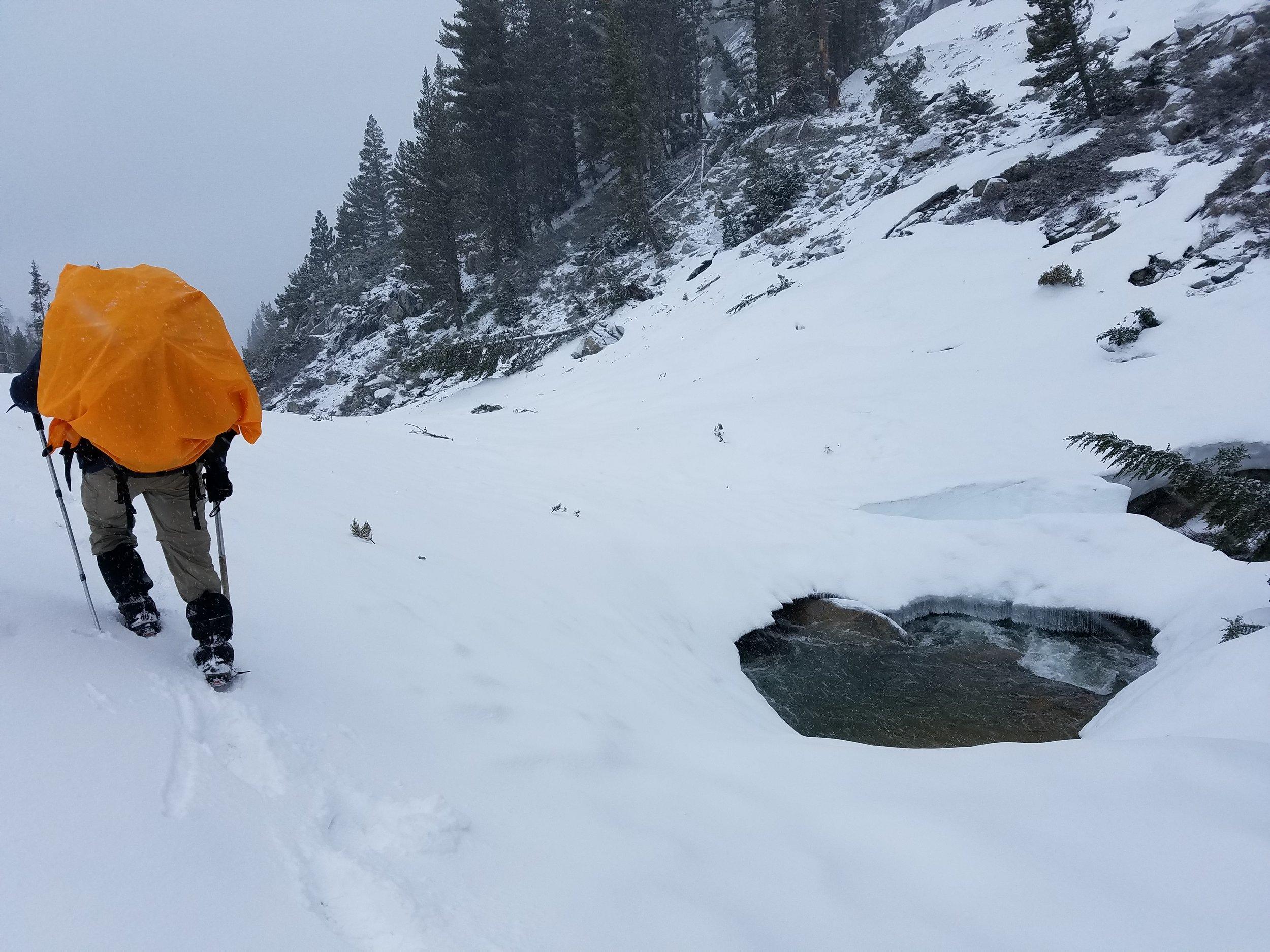 Massive snow bridge covering Kerrick/Rancheria Creek.