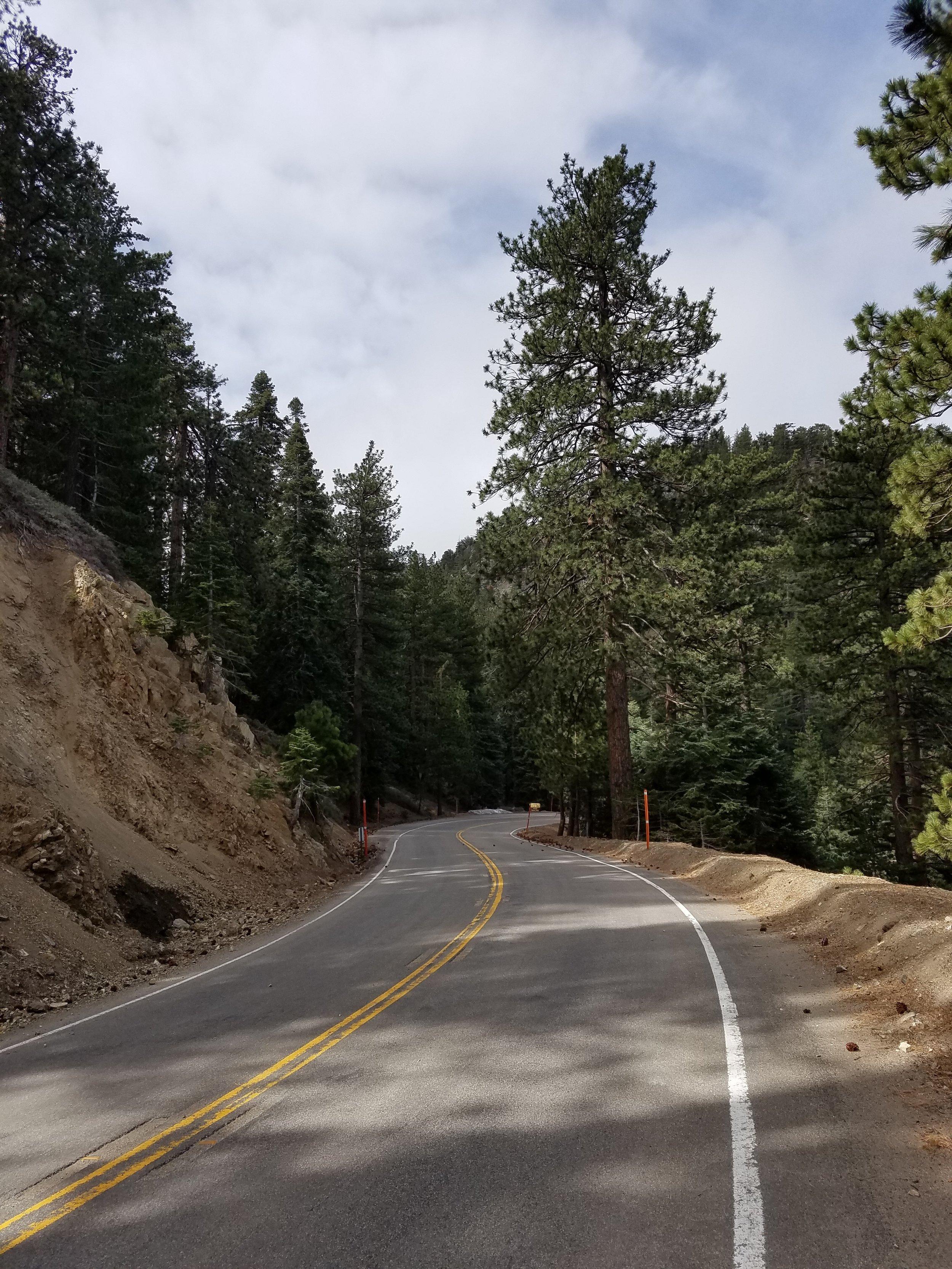 Road walking detour along the deserted Highway 2.