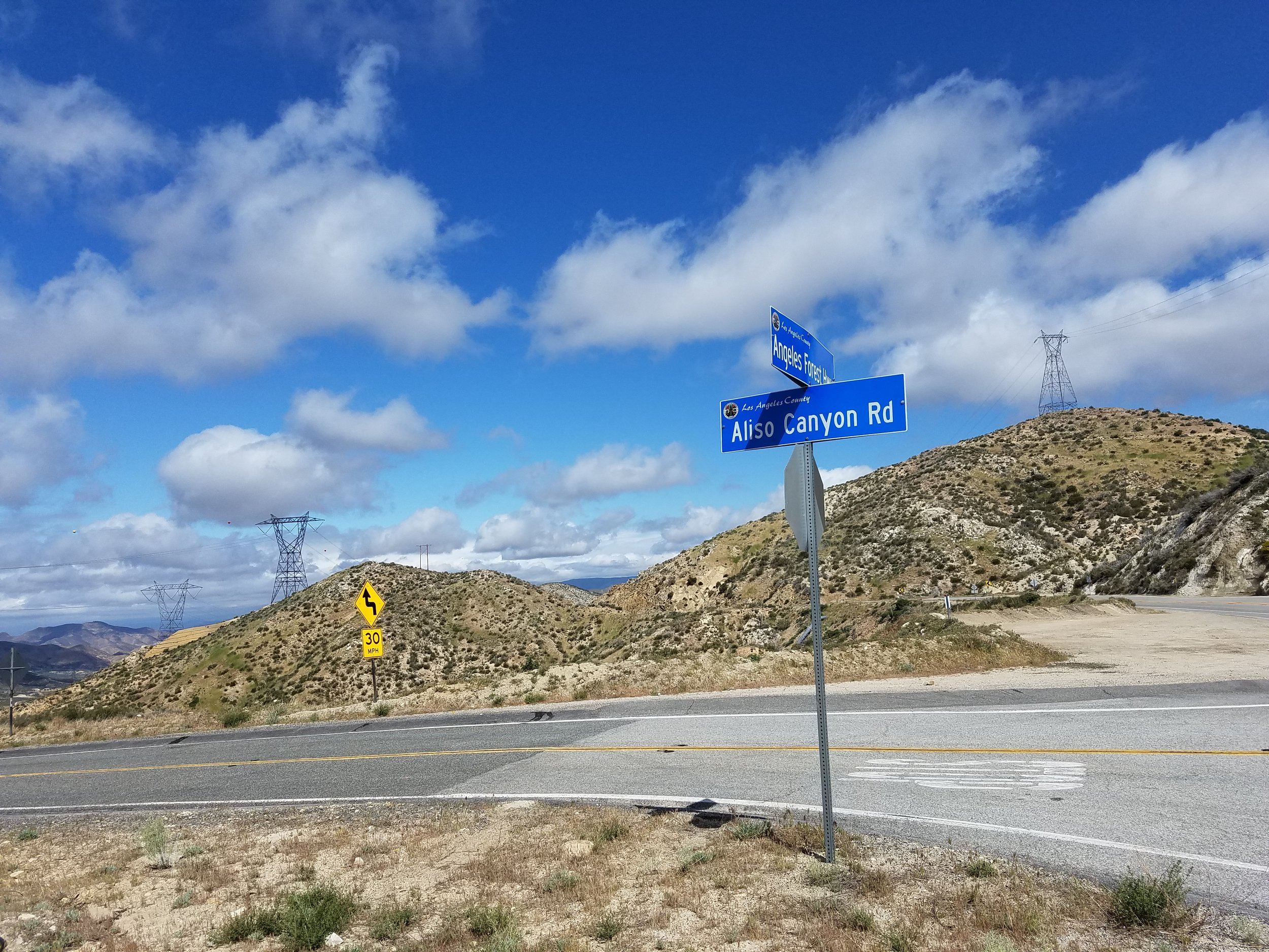 Finally reaching the quieter Aliso Canyon Road.