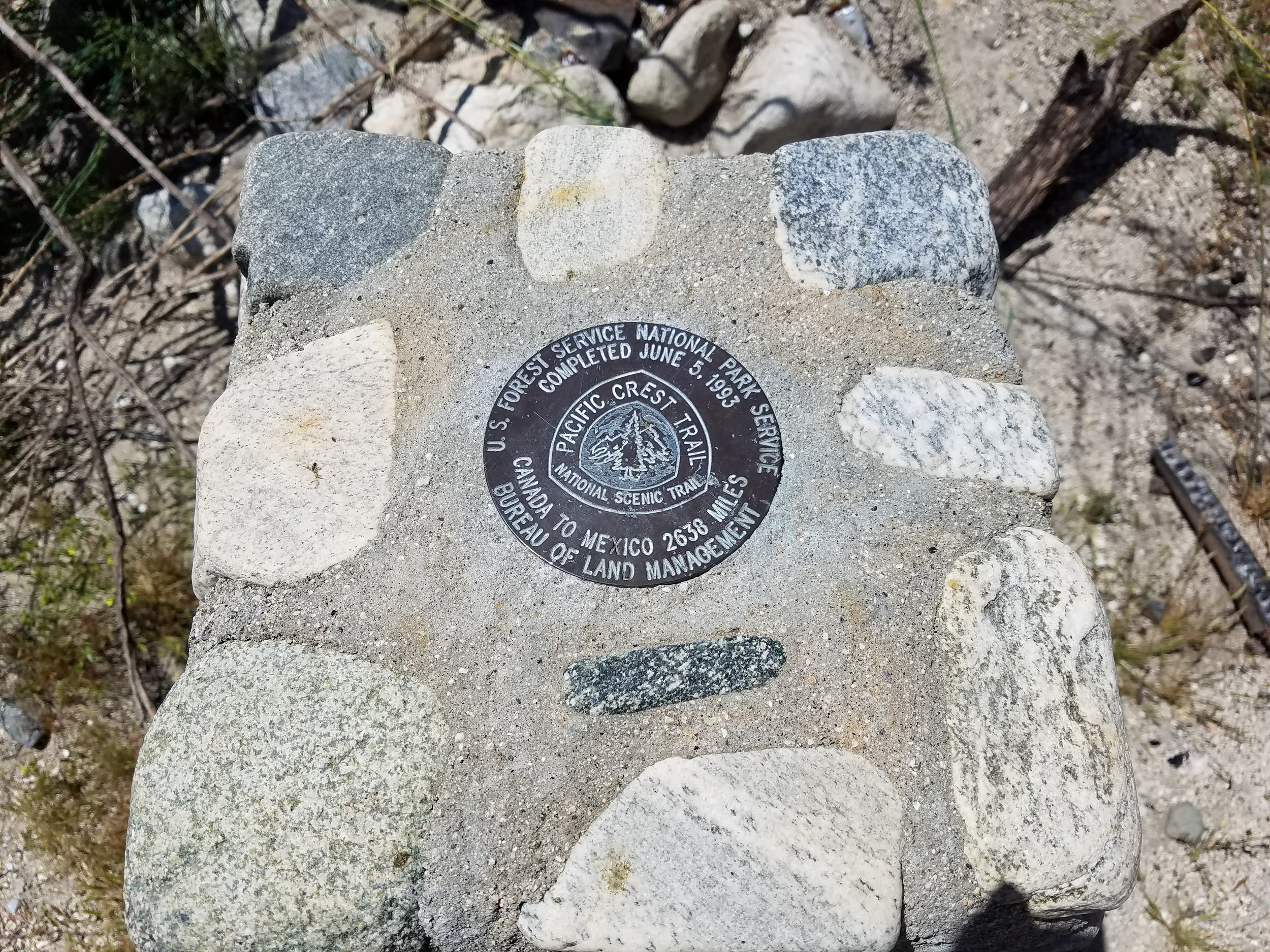 PCT completion monument.