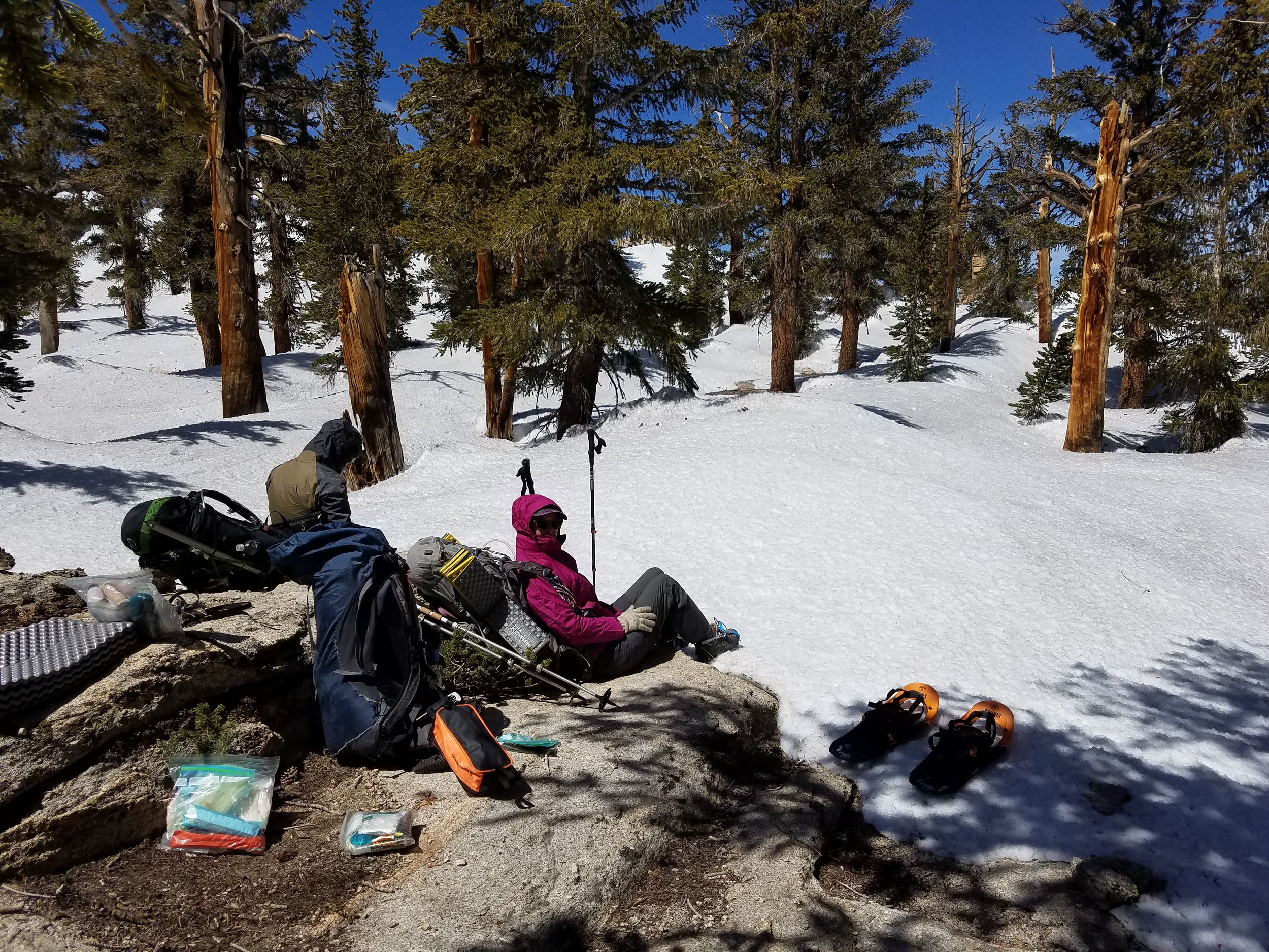 Luxurious dry rock for our lunch stop at our new highest elevation, 10,700 feet.