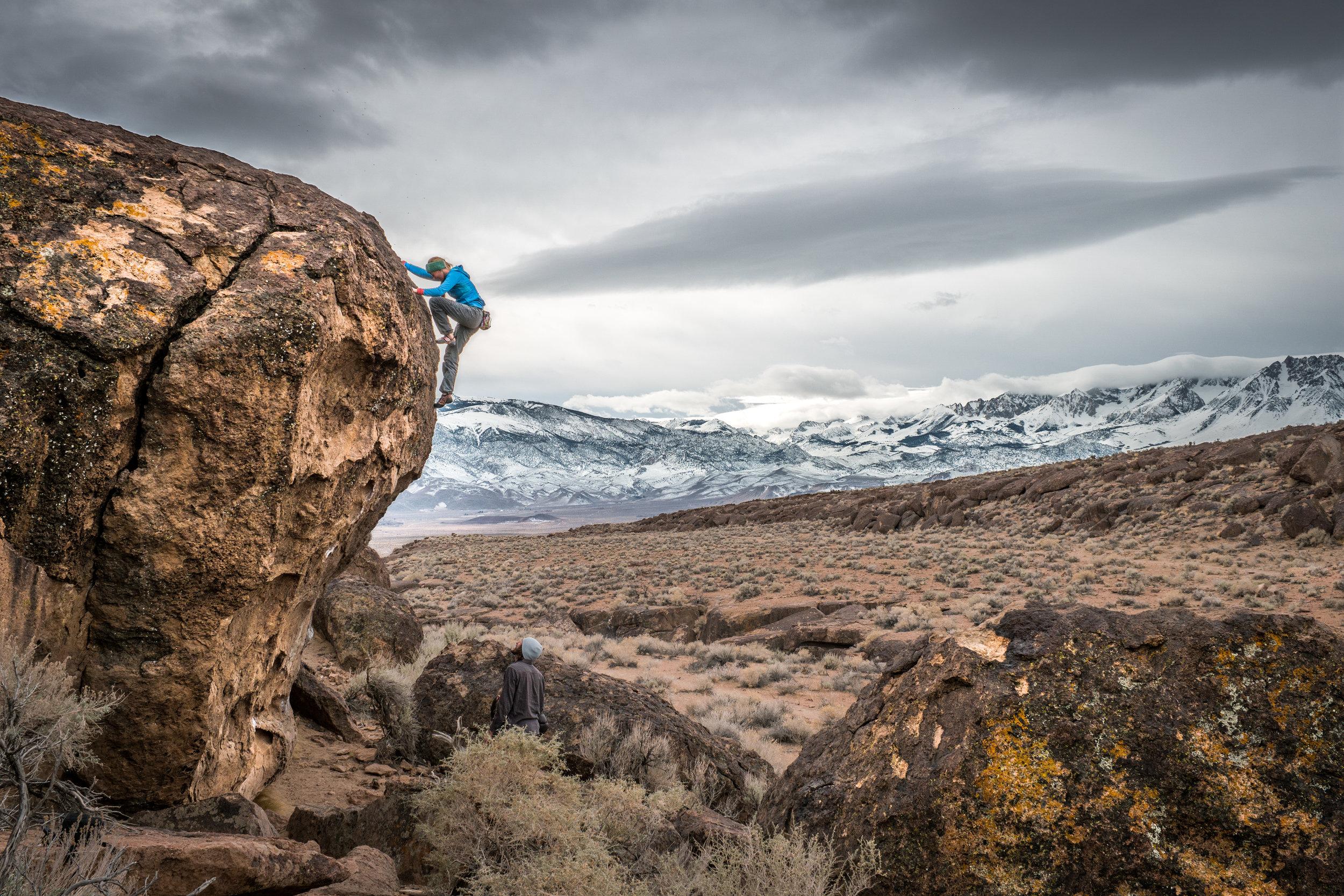 Monkeying around in Bishop watching the storm work its way through the Sierra.