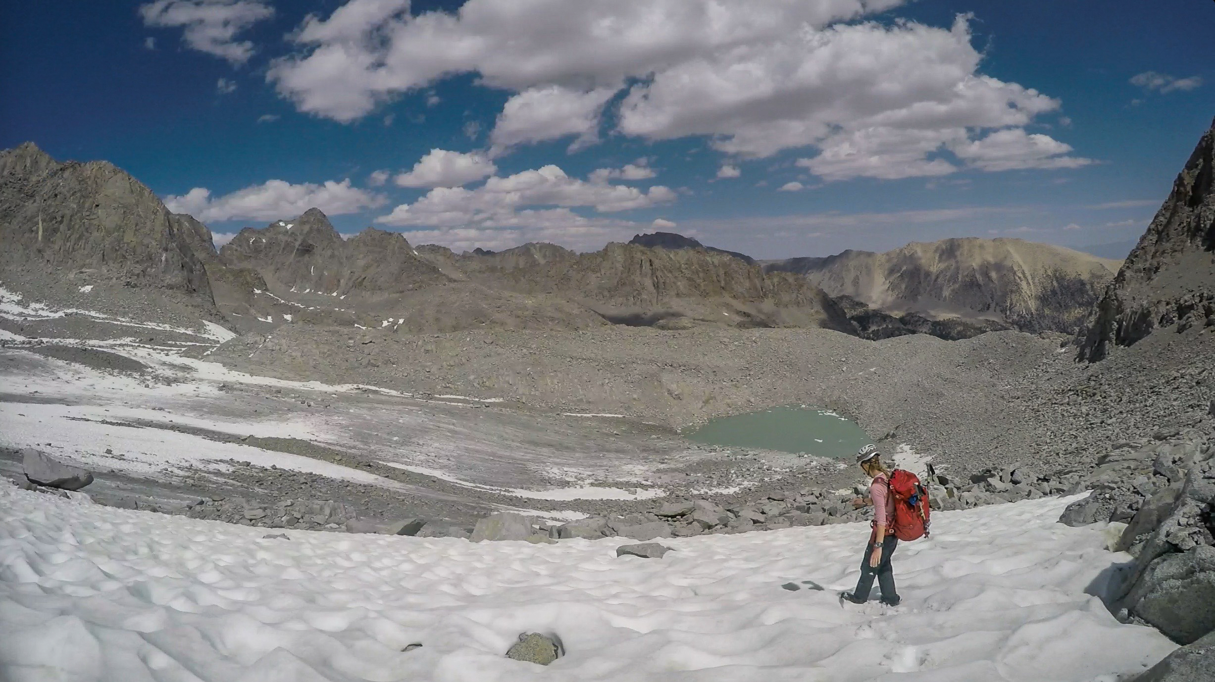 Melanie descending the Palisade Glacier in 2016, figuring out just how useful crampons would be...