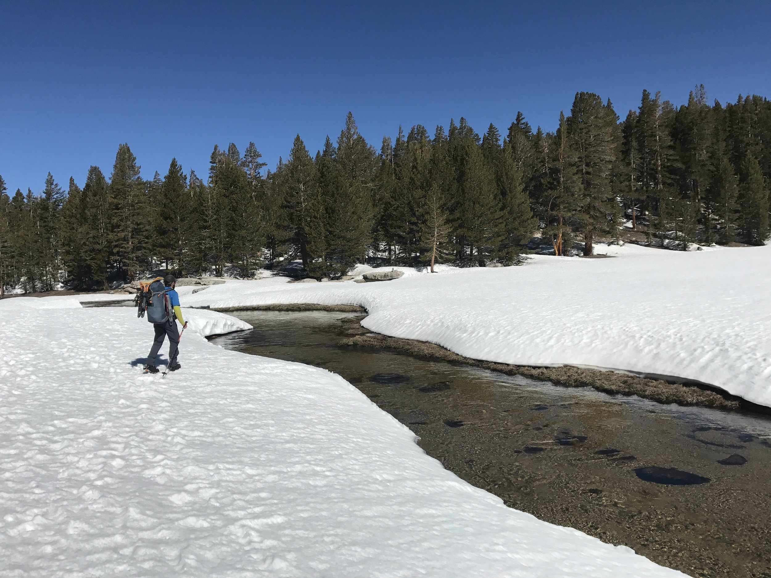 Looking for snowbridges in Crabtree Meadow.