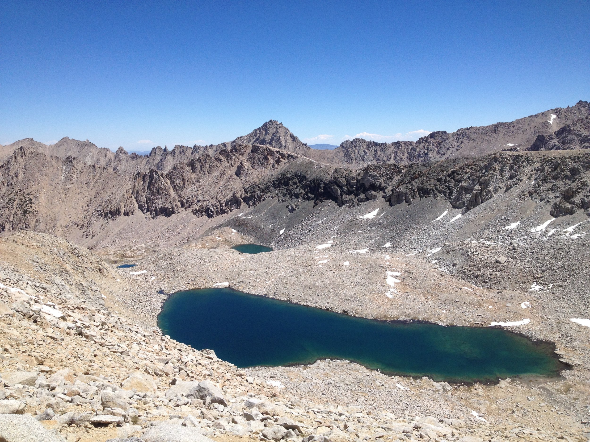June 2014 - Looking north from Forester Pass on Lake 12,250'.