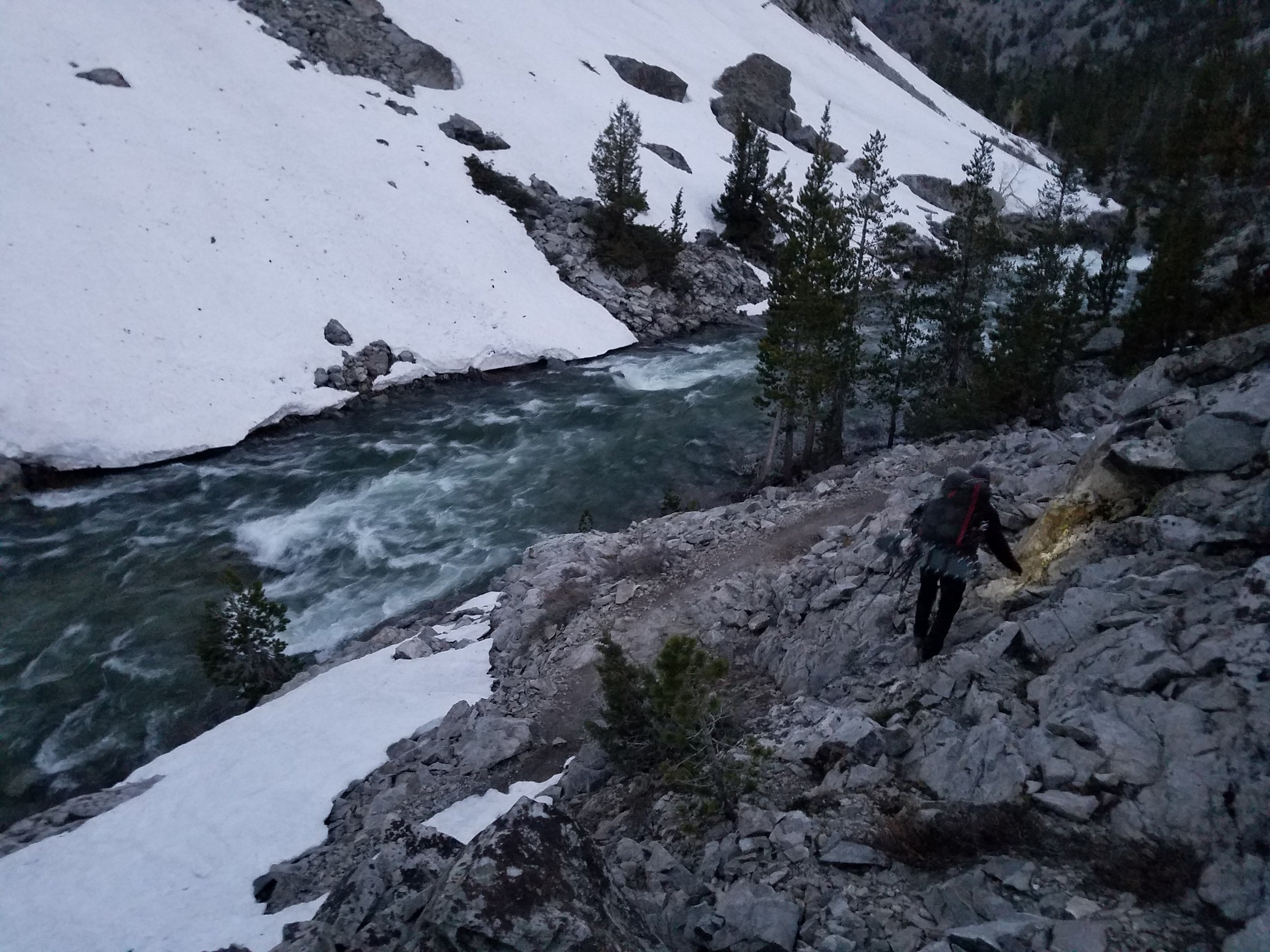 Early morning scrambling above the trail.
