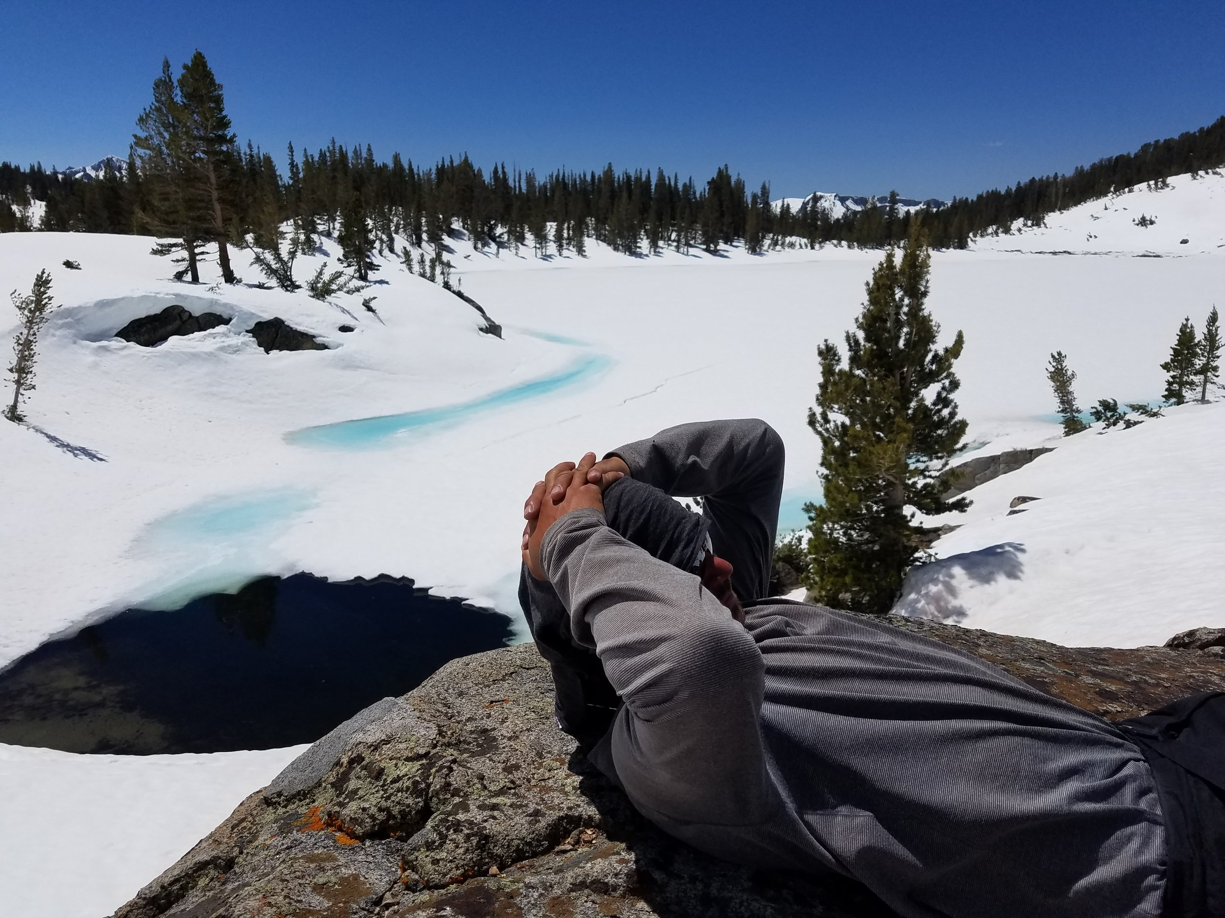 May 2017 - Amped relaxes with Sallie Keyes Lake in the background.