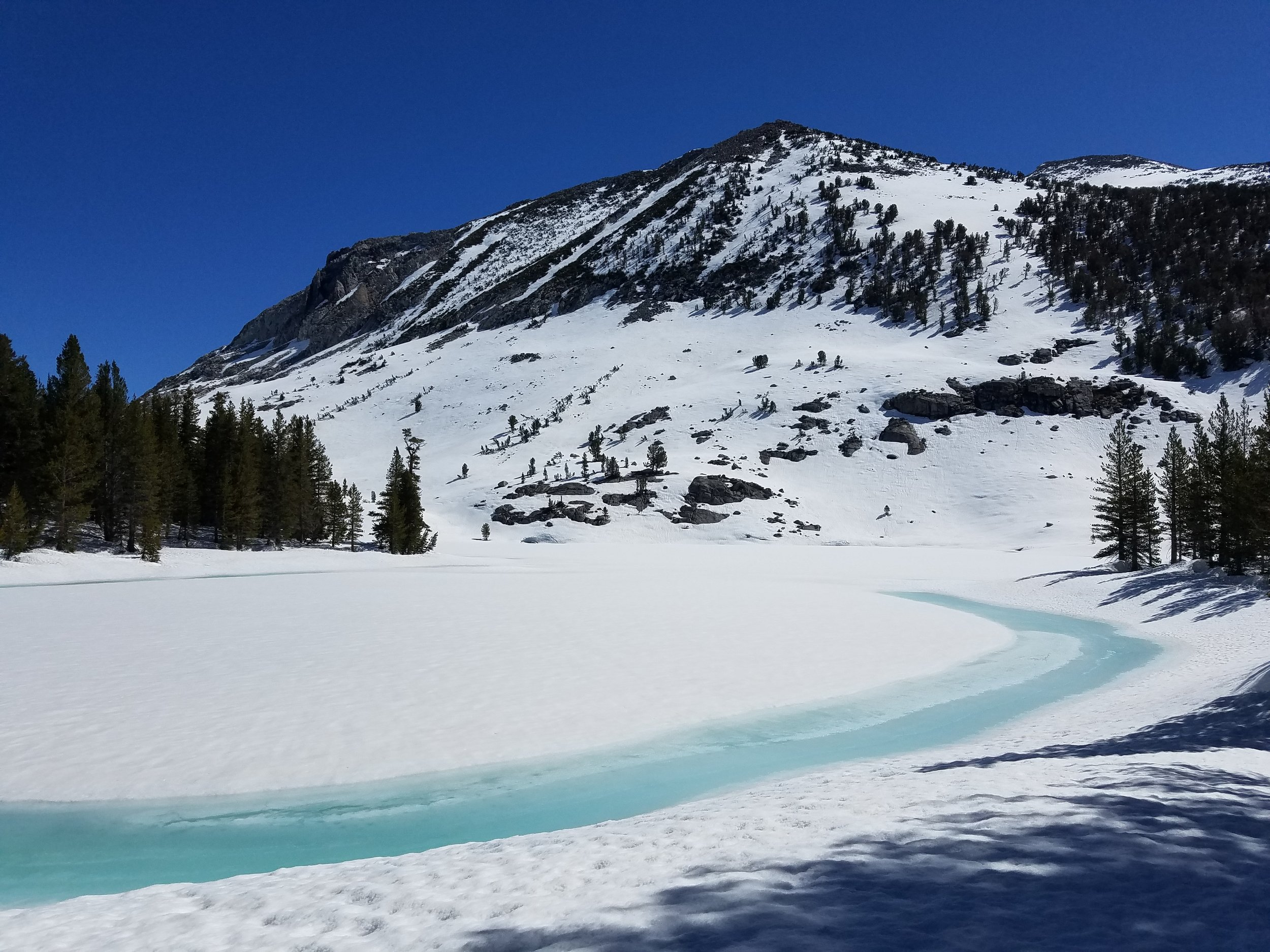Our first glimpse of Sallie Keyes Lakes.