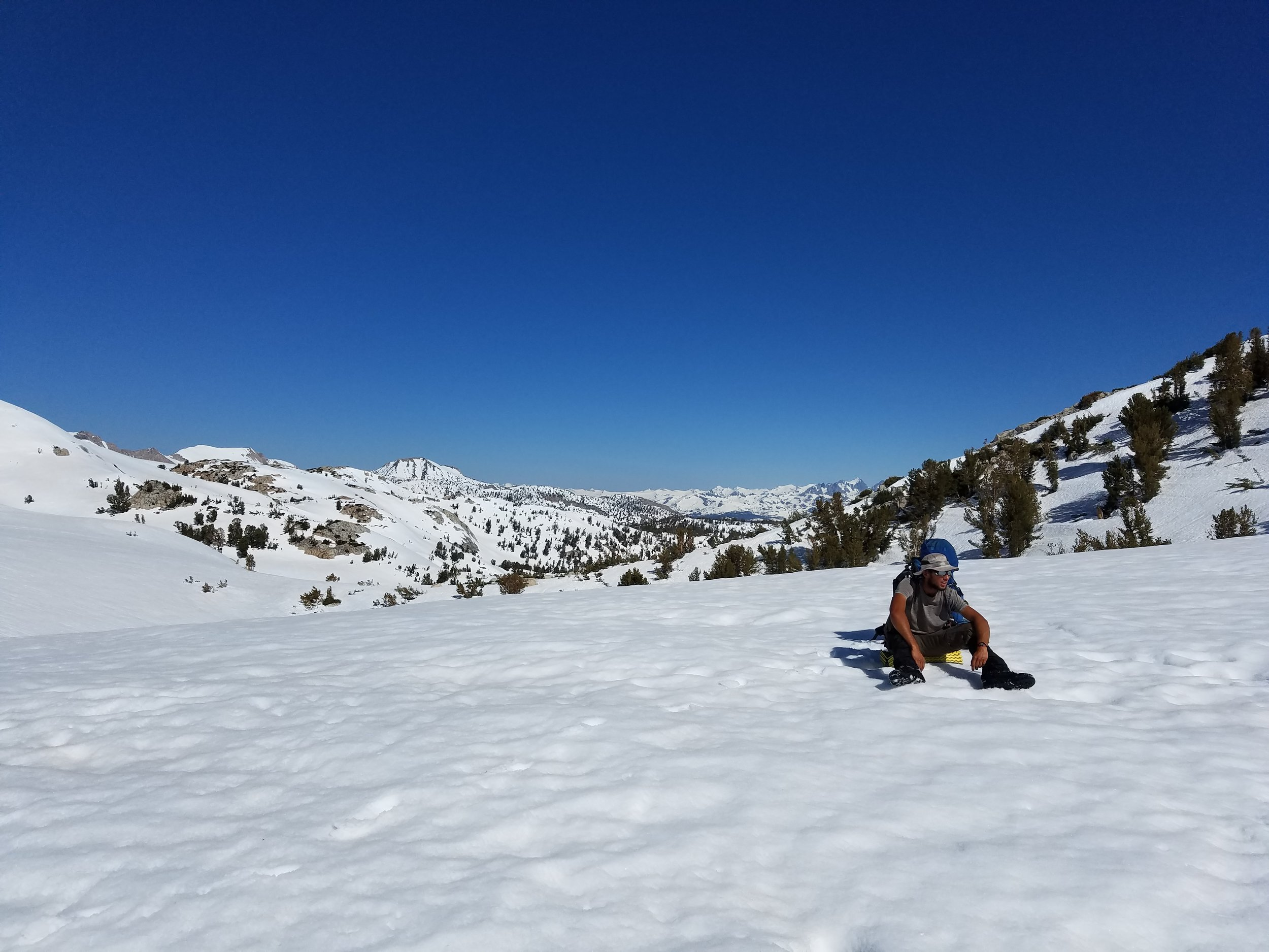 Thor, pausing for a break before heading up the final slope to Silver Pass.