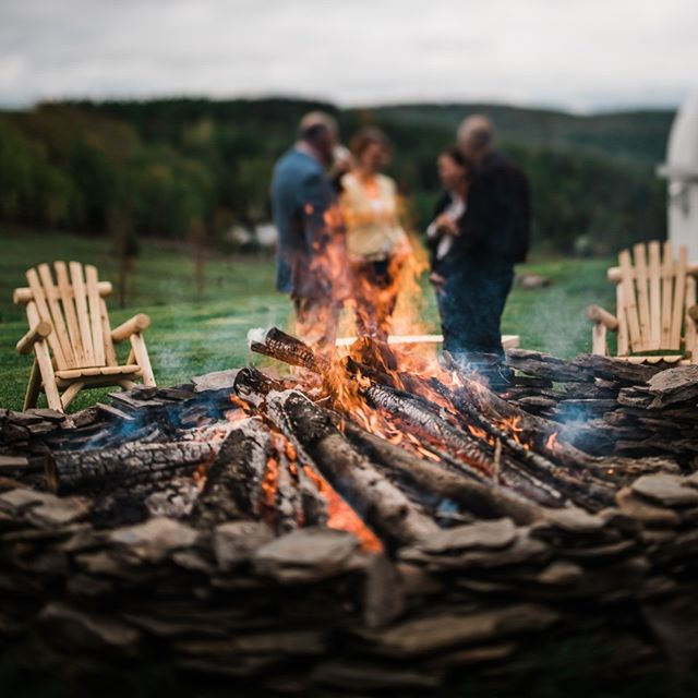 A roaring bonfire keeps the party warm on early spring nights @kalzphotography