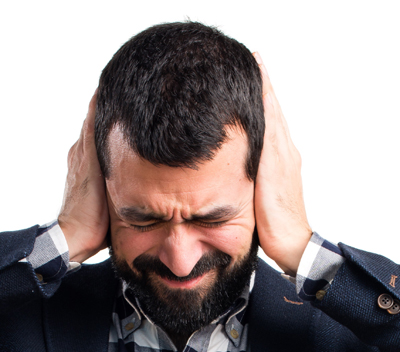 Photo of man covering his ears for Personal Defense Connections horrible tweet post