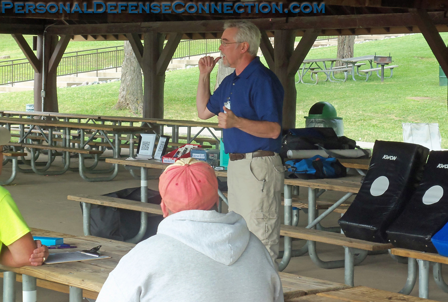 A self defense class that was held outside. Beautiful weather.