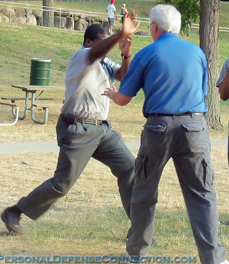 Practicing a Self Defense Technique. Personal Defense Connection