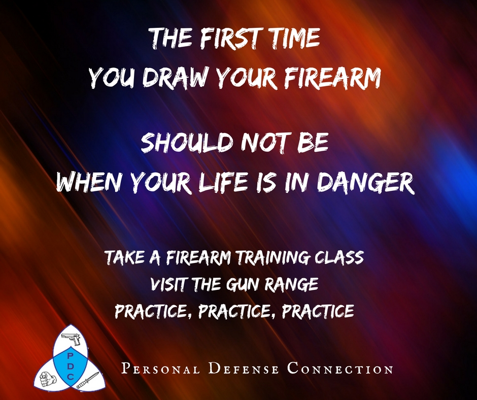 The first time you draw your firearm should not be when your life is in danger. Take a gun training class. Visit the Gun Range. Practice, Practice, Practice.