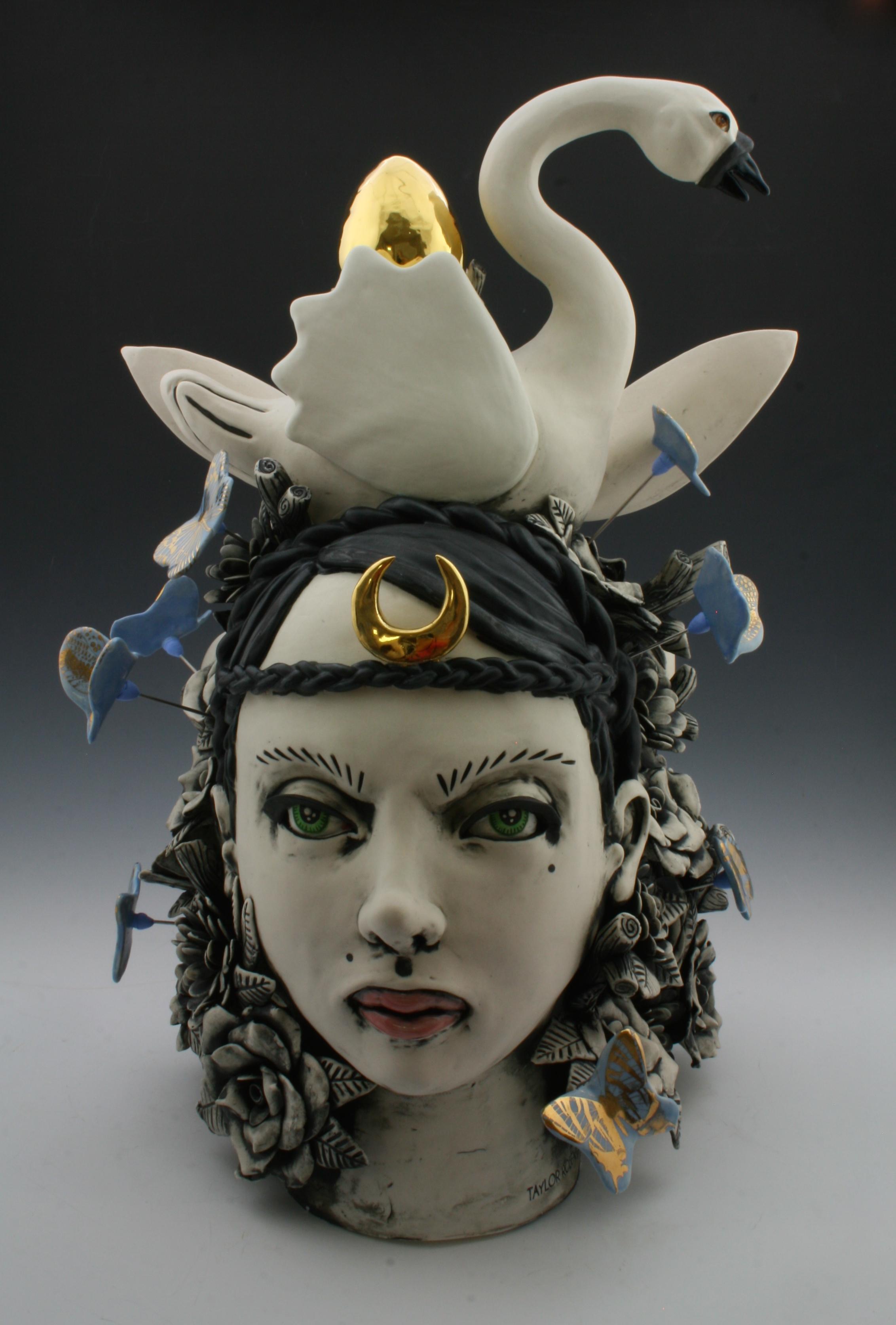 Artemis In Her Element , H18 X W13 X D17,   porcelain, underglaze, glaze, luster, decals and mixed media, 2018.jpg