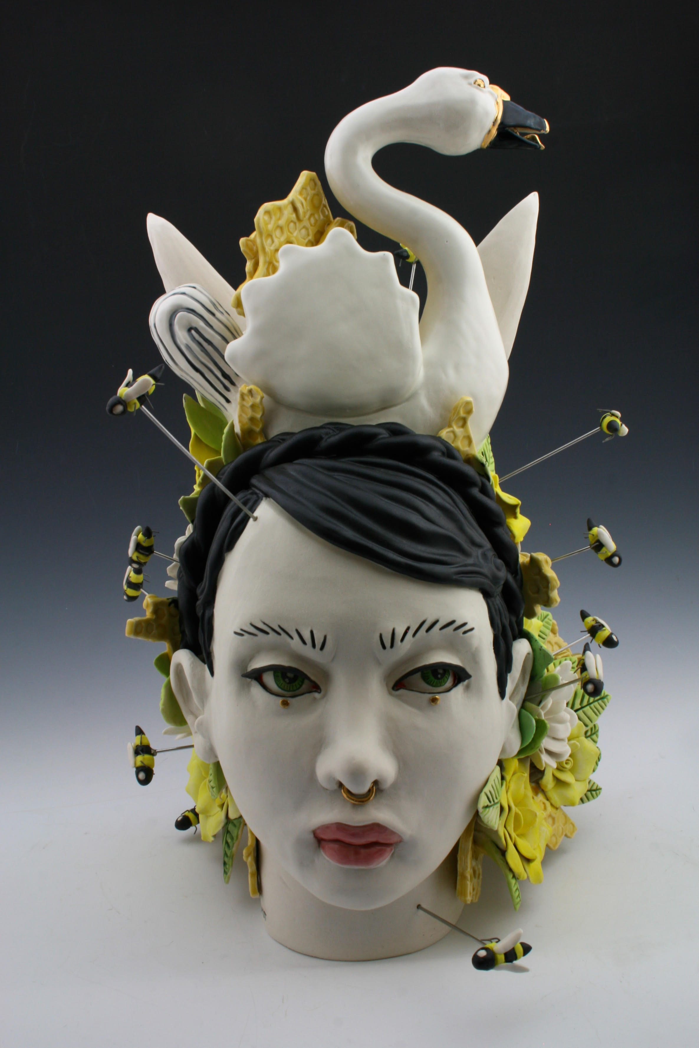 A Swarm Of Thoughts H16 X W9 X L16,  porcelain, under glaze, glaze, luster, and mixed media