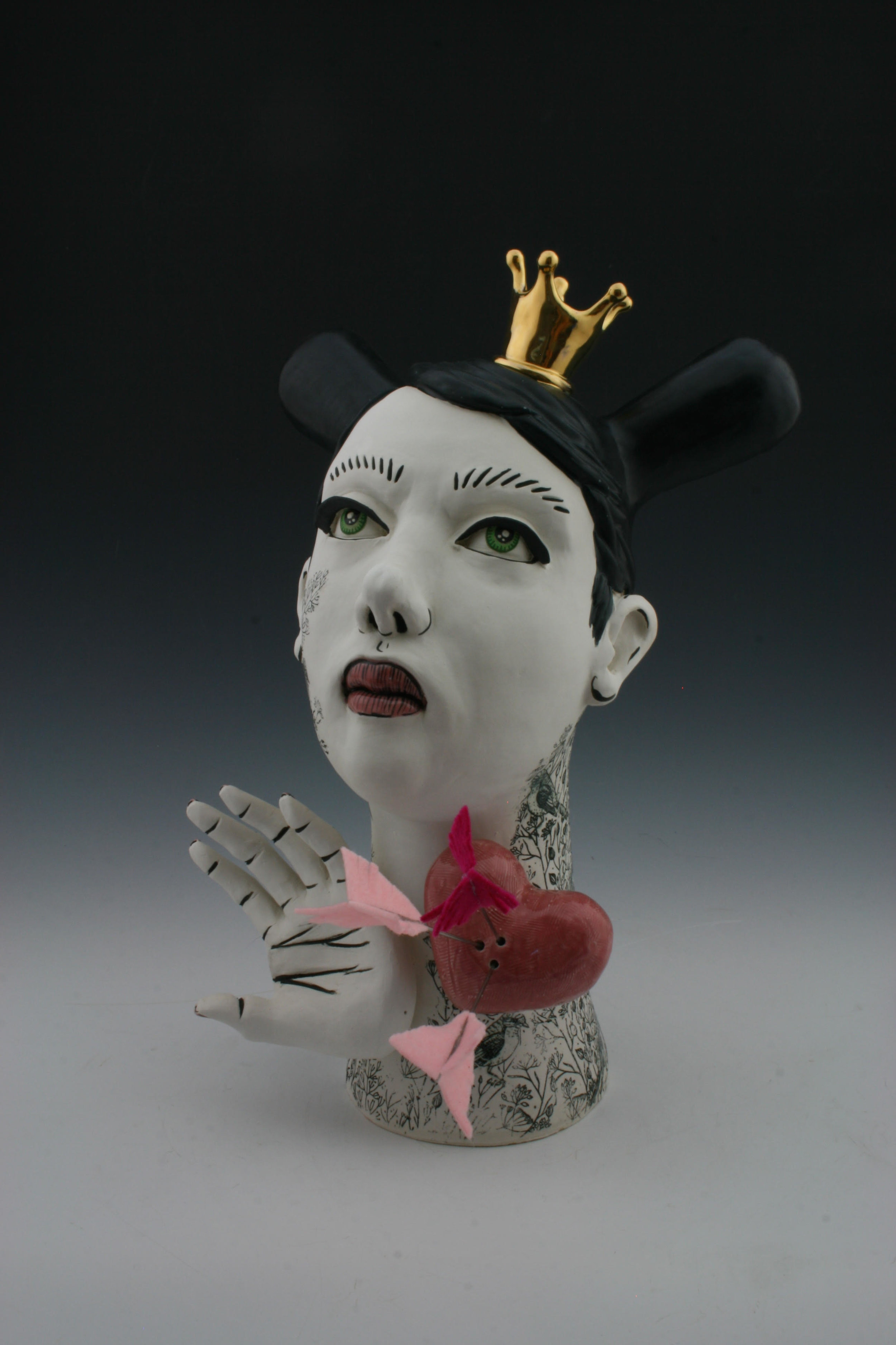 Broken Hearted In The Weeds, H14 X W5 X L10, porcelain, under glaze, glaze, luster and mixed media