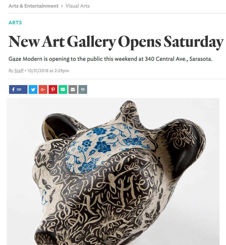 New Art Gallery Opens Saturday - Staff, Sarasota MagazineGaze Modern, a new art gallery, is opening to the public this weekend at 340 Central Ave., Sarasota, with an inaugural exhibition titled Color + Content that will feature the work of Taylor Robenalt and Polly Johnson. The gallery will feature revolving exhibitions of local and regional emerging and mid-career artists, as well as group exhibitions and collaborative participatory projects. The staff includes director, curator and artist Tim Jaeger; preparator and artist Zachary Gilliland; and gallery assistant Shelley Travis. An opening reception for Color + Content takes place 5-8 p.m. Saturday, Nov. 3. Normal gallery hours are 5-9 p.m. Friday, 11 a.m.-5 p.m. Saturday and Sunday and by