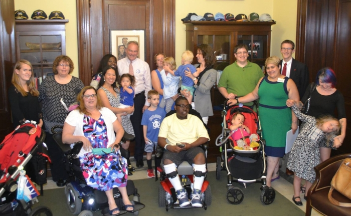 Some of our Virginia Little Lobbyists families meeting with Senator Tim Kaine.