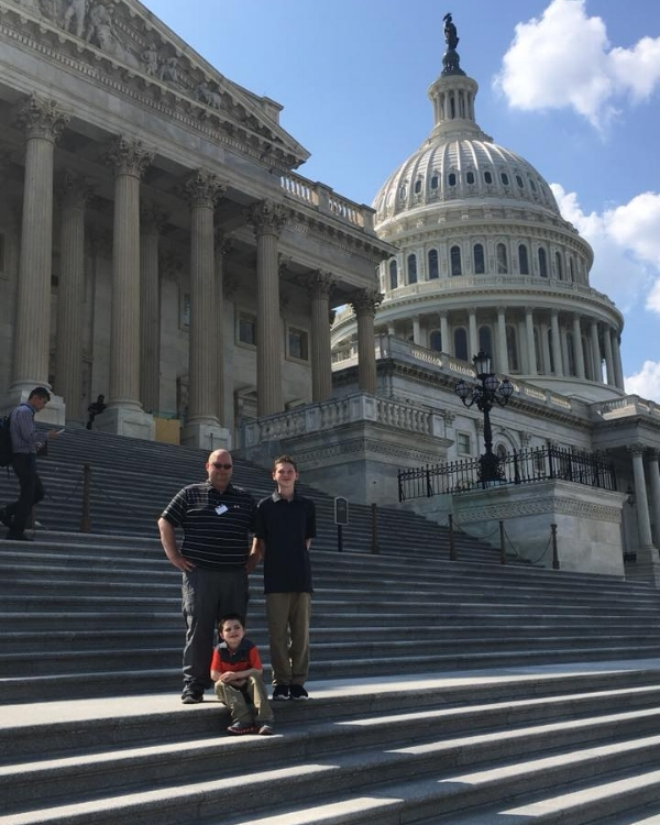 Aiden with his Dad and Brother visiting the Capitol.
