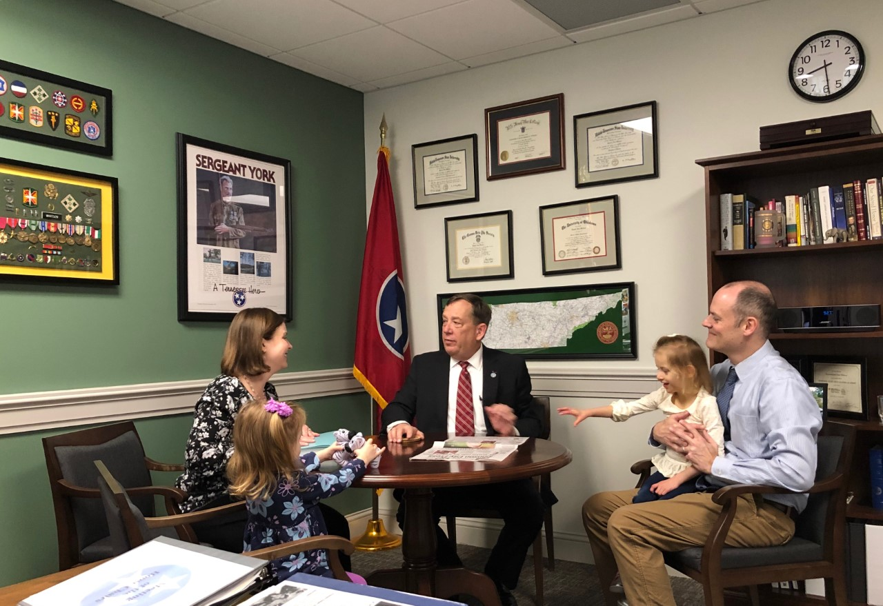 Jessica Fox with her family visiting Tennessee State Representative Sam Whitson