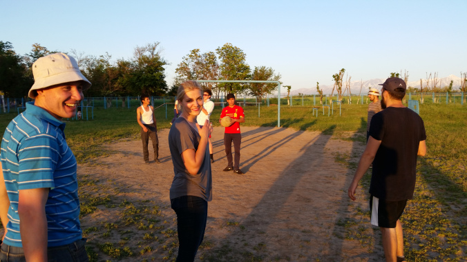 Playing soccer with the locals