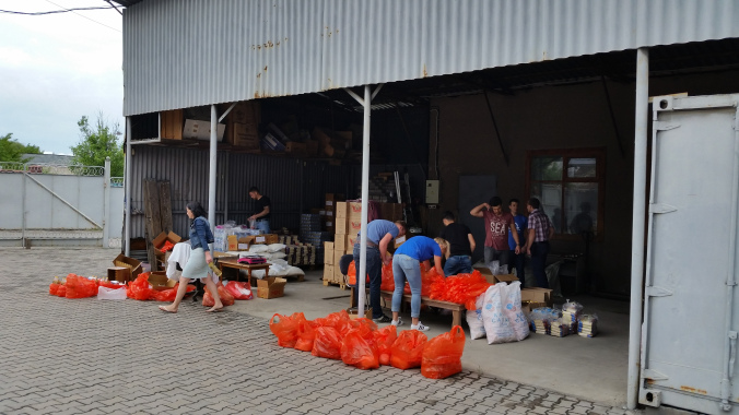 Our make-shift warehouse at the mission
