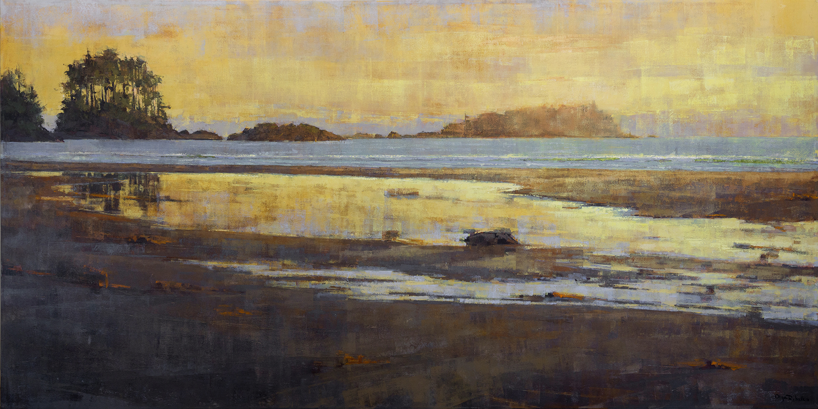 olga rybalko art - pacific rim - landscape beach sunset painting