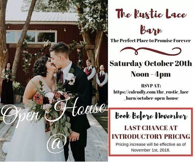 Getting Married?! Join Us For Our October Open House - Last Chance for Introductory Pricing Event. This Saturday, October 20th from Noon - 4:00pm and come see The Barn!  RSVP at https://calendly.com/the_rustic_lace_barn/october-open-house  #perfectplacetopromiseforever #perfectpromise #barnwedding #wedding #weddingvenuecolorado #weddingplanning #weddingvenue #weddingvendors #weddingflowers