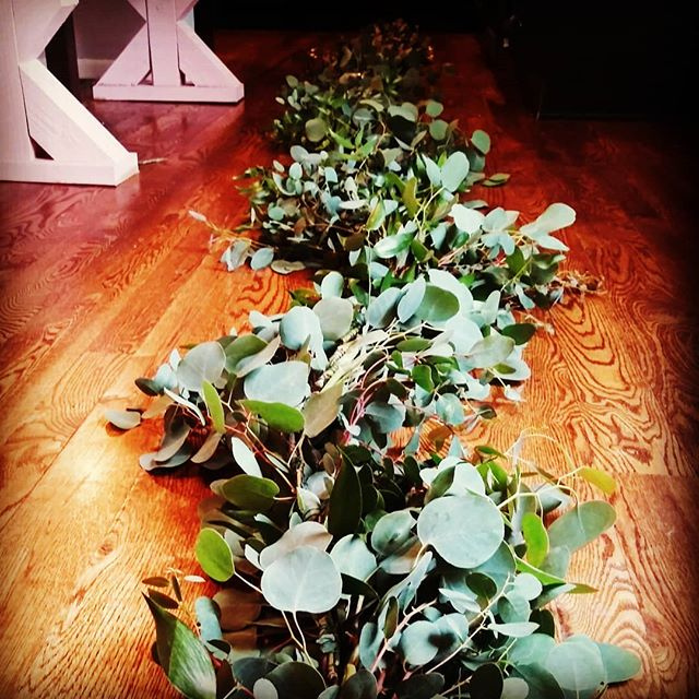 Greenery for Days!!! We just finished making 25ft of fresh eucalyptus garland to hanging on the alter @therusticlacebarn this weekend for another beautiful couple ❤ Can't wait to install it, and weave in all the beautiful white blooms to finish the look!! #ilovemyjob #therusticlacebarn #greenerywedding #alterpiece #allthingspretty