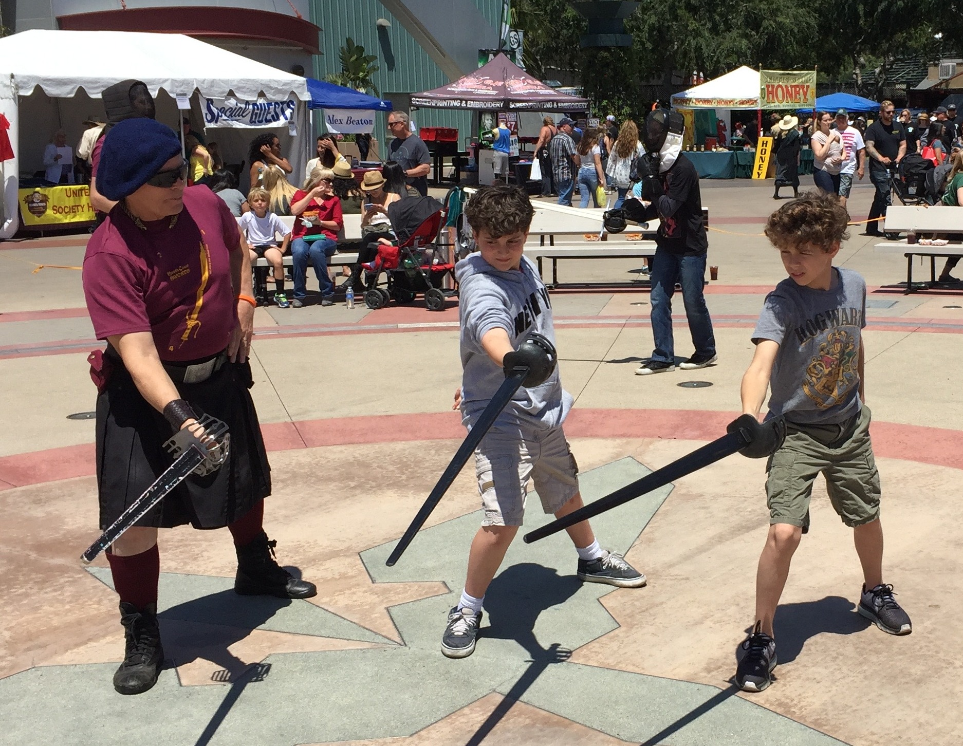 Instructor Robin Price teaching Highland Broadsword from McBane's 1728 manuscript at the Costa Mesa Scottish Festival.
