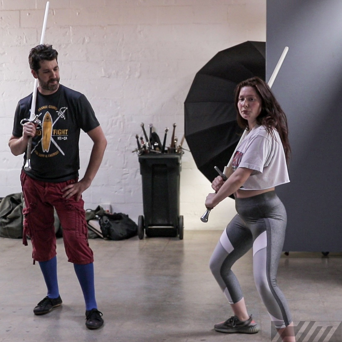 """Co-Owner Jonathan Mayshar instructing """"Shameless"""" actress Emma Kenney on the use of the longsword for her upcoming film """"Robert the Bruce."""""""