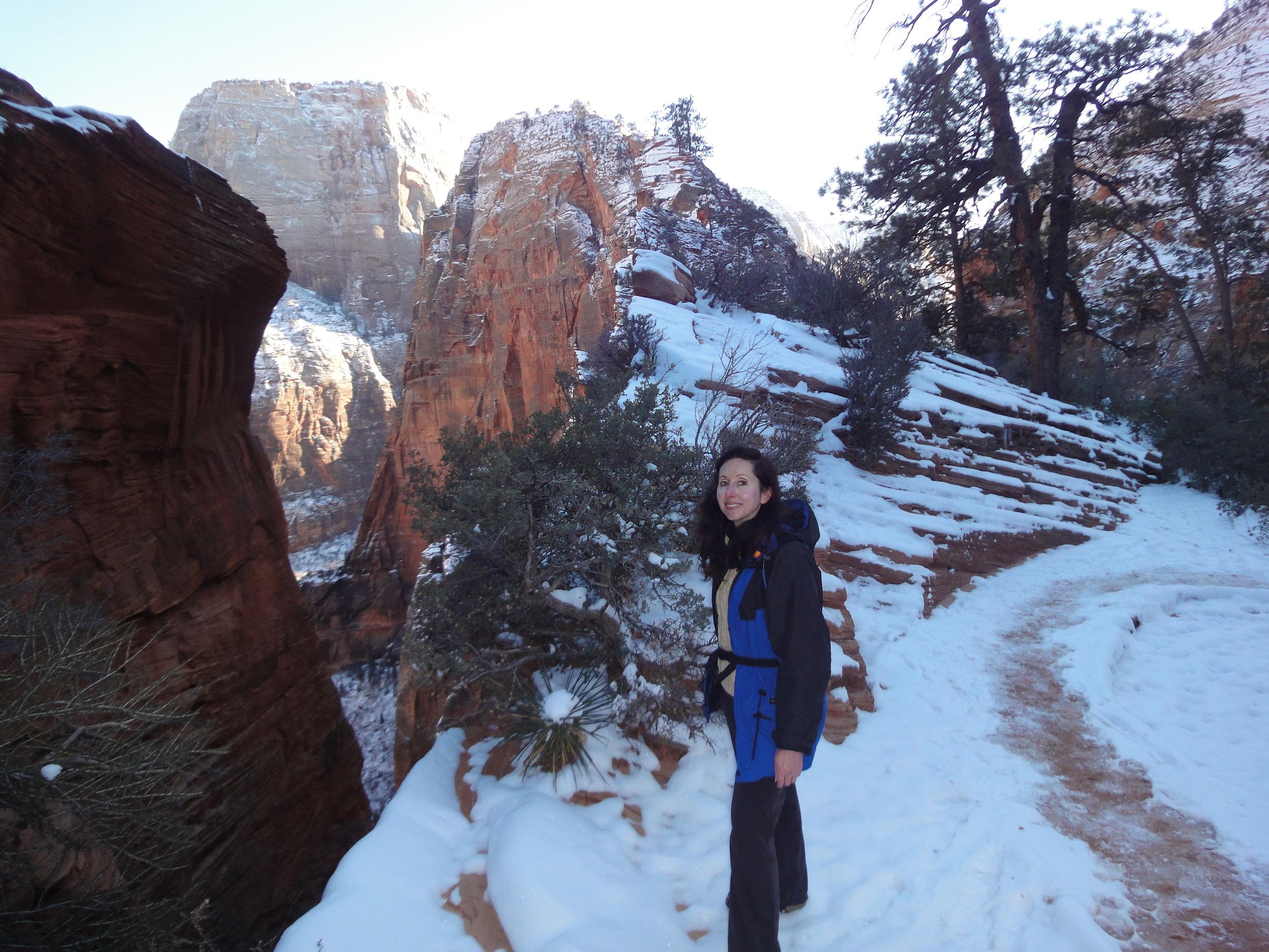 Enjoying the scenery, winter at Angel's Landing, Zion National Park, Utah