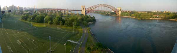 Randall's Island, The Hell Gate Bridge and Astoria Park from the Triborough Bridge bicycle path
