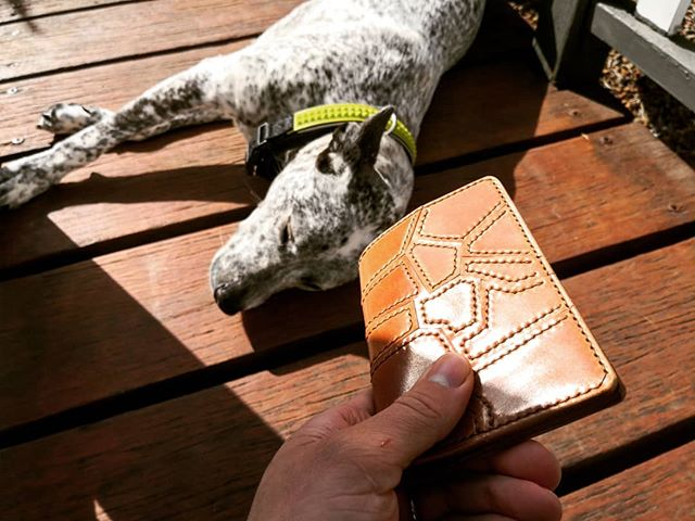 It turned out great, I think! Bonus doggo! Swipe to see more! . . . Shell Cordovan frankenshell passport holder!
