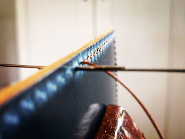 A couple of Shell Cordovan wallets on their way to their new owners! . . This quick snap was taken mod stitch!