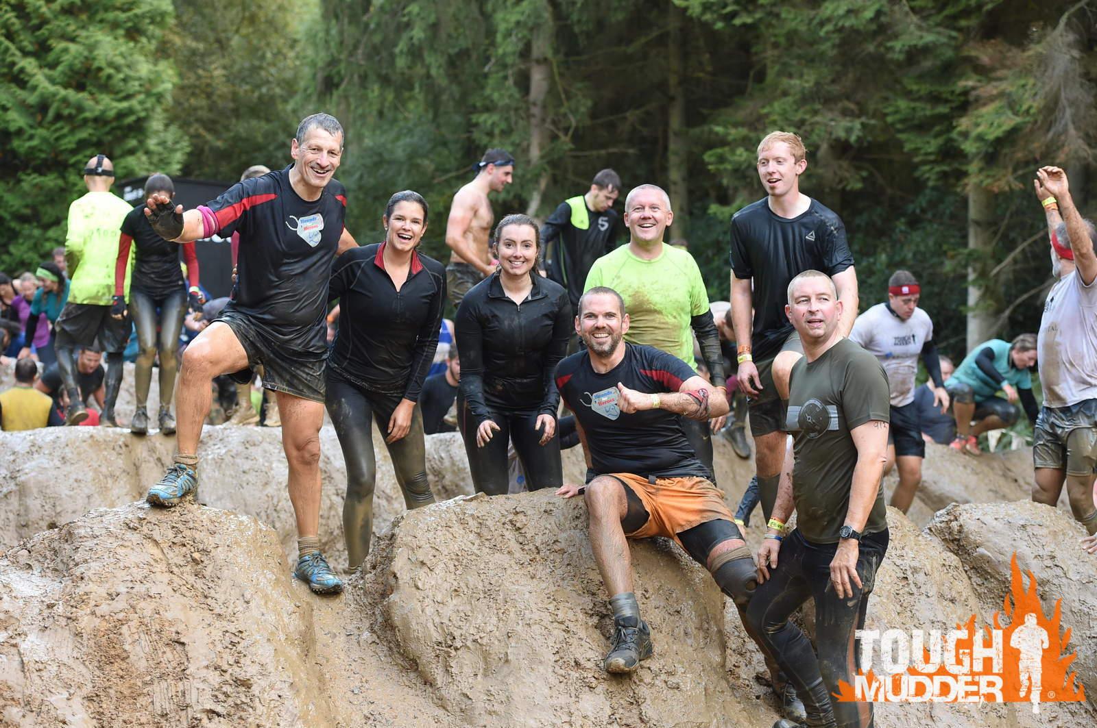 The Aquila Tough Mudder Team, from left to right, Kelvin Richardson, Nicola Denbigh, Emily Makepeace, Chris Brearley, David Hawken, Matt Woods and Jonathon Dudley.