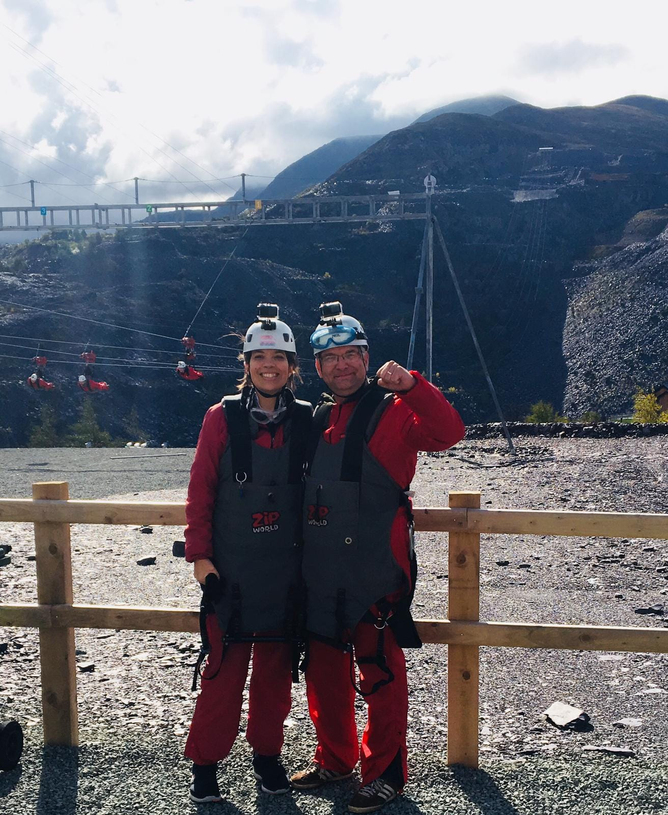 The Aquila Zip Wire Team, from left to right, Kate Todd and Wil Paterson