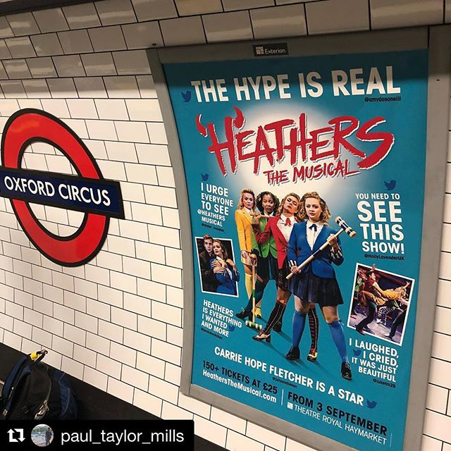 From #offbroadway to the #westend, @heathersmusical is winning over the world. 🇬🇧👏#Repost @paul_taylor_mills with ・・・ That first moment you see it on the tube.  Dream.