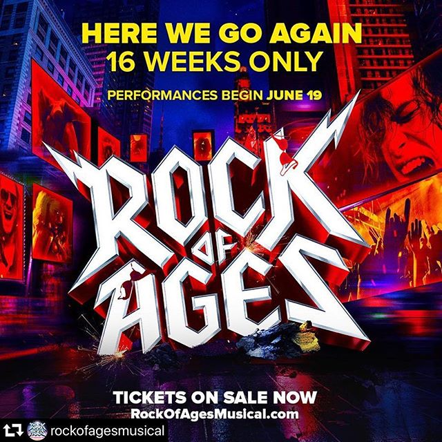 Here we go again! We're returning to NYC this summer in a special 10th anniversary production for 16 WEEKS ONLY starting June 19. #rockofages #nyctheatre #nyc #broadway