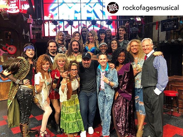 "#repost @rockofagesmusical -  Today we've got ""Bye Bye Bye"" stuck in our heads! @realjoeyfatone from @nsync came to visit last night for a little pop-rock crossover! 🎶🔥 . . . #rockofages #rockofages10 #nysync #broadway #joeyfatone #nyc"